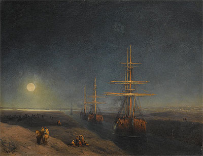 Ships Passing through a Canal in Moonlight, 1876 | Aivazovsky | Painting Reproduction