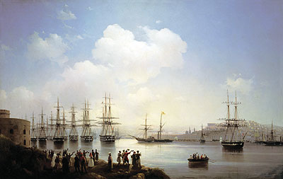 The Russian Squadron on the Sevastopol Roads, 1846 | Aivazovsky | Painting Reproduction
