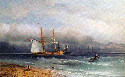 Shipping off the Coast, 1857 | Aivazovsky | Painting Reproduction