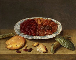 Jacob van Hulsdonck | Still Life with Raisins, Apricots and Plums in a Porcelain Dish, 1620s | Giclée Canvas Print