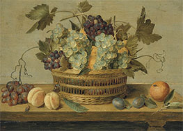 Jacob van Hulsdonck | Nectarines and Grapes in a Basket, Undated | Giclée Canvas Print