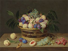 Jacob van Hulsdonck | Peaches, Plums and Grapes in a Basket, Undated | Giclée Canvas Print