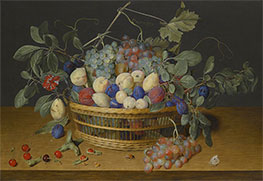 Jacob van Hulsdonck | Still Life with Plums, Grapes and Peaches in a Wicker Basket, Undated | Giclée Canvas Print