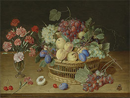 Jacob van Hulsdonck | A Still Life with a Vase of Carnations and a Basket of Fruits, Undated | Giclée Canvas Print