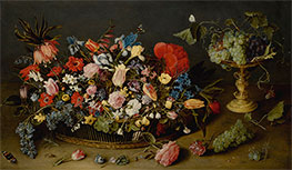 Jacob van Hulsdonck | An Elaborate Basket of Flowers and a Tazza with Grapes, Undated | Giclée Canvas Print