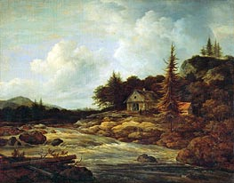 Ruisdael | Landscape with Mountain River | Giclée Canvas Print