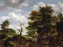Ruisdael | Landscape with Bridge, Cattle, and Figures | Giclée Canvas Print