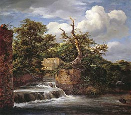Ruisdael | A Wooded Landscape with Mill | Giclée Canvas Print
