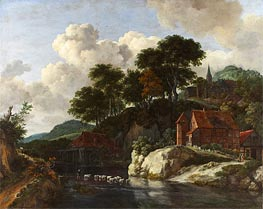 Ruisdael | Hilly Landscape with a Watermill | Giclée Canvas Print