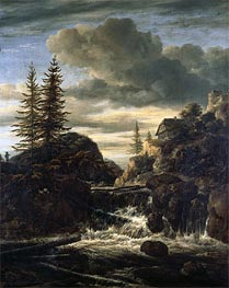 Ruisdael | A Norwegian Landscape with a Cascade Waterfall | Giclée Canvas Print