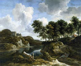 Ruisdael | River Landscape with a Castle on a High Cliff | Giclée Canvas Print