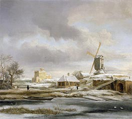 Ruisdael | A Winter Landscape with a Frozen Canal and a Windmill | Giclée Canvas Print