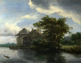 Ruisdael | A Cottage and a Hayrick by a River | Giclée Canvas Print