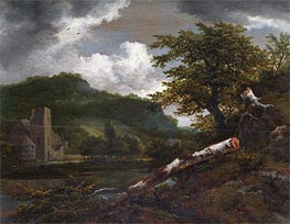 Ruisdael | A Landscape with a Ruined Building | Giclée Canvas Print