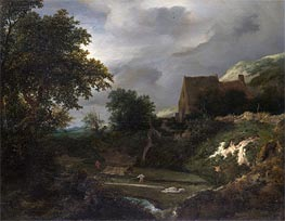 Ruisdael | A Bleaching Ground in a Hollow by a Cottage | Giclée Canvas Print