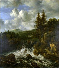Ruisdael | A Landscape with a Waterfall and a Castle on a Hill | Giclée Canvas Print
