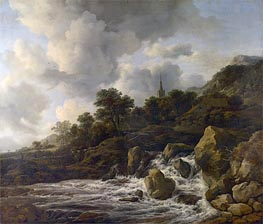 Ruisdael | A Waterfall at the Foot of a Hill near a Village | Giclée Canvas Print