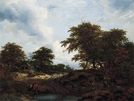 Ruisdael | Woody Landscape with a Pool and Figures | Giclée Canvas Print