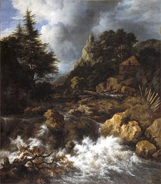 Ruisdael | Waterfall with a Half-Timbered House and Castle | Giclée Canvas Print
