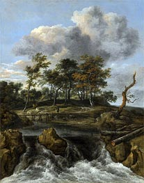 Ruisdael | A River Landscape with a Waterfall | Giclée Canvas Print