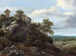 Ruisdael | Landscape with Houses on a Rocky Hill | Giclée Canvas Print