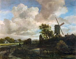 Ruisdael | Evening Landscape, A Windmill by a Stream | Giclée Canvas Print