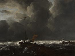 Ruisdael | Rough Sea at a Jetty | Giclée Canvas Print
