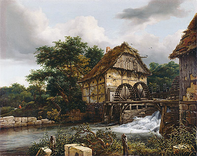 Two Watermills and an Open Sluice, 1653 | Ruisdael | Giclée Canvas Print