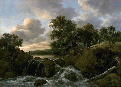 Landscape with a Waterfall, undated | Ruisdael | Giclée Canvas Print