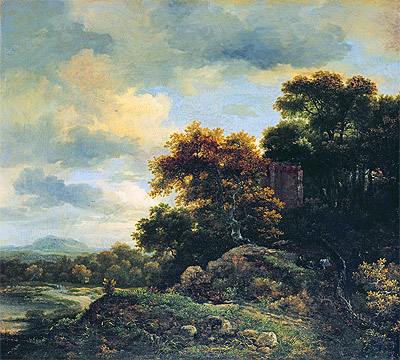 Landscape with Wooded Hillock , undated | Ruisdael | Giclée Canvas Print