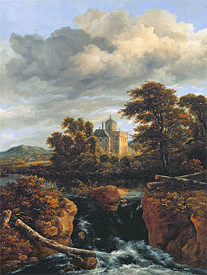 Ruisdael | Landscape with a Waterfall and Castle, c.1670 | Giclée Canvas Print