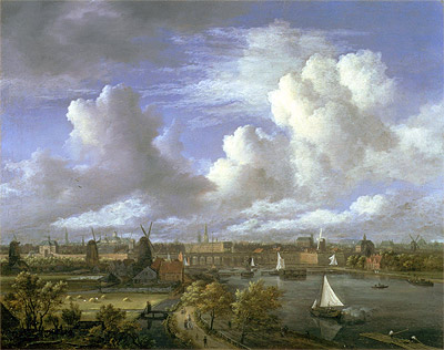 View on the Amstel Looking Towards Amsterdam, c.1675/70 | Ruisdael | Painting Reproduction