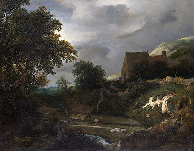 A Bleaching Ground in a Hollow by a Cottage, c.1645/50 | Ruisdael | Giclée Canvas Print