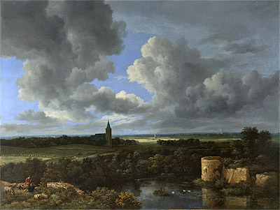 A Landscape with a Ruined Castle and a Church, c.1665/70 | Ruisdael | Giclée Canvas Print
