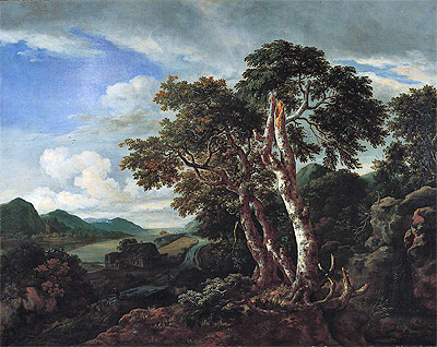 Three Great Trees in a Mountainous Landscape with a River, c.1665/70 | Ruisdael | Giclée Canvas Print