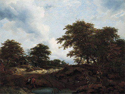 Woody Landscape with a Pool and Figures, c.1660 | Ruisdael | Giclée Canvas Print