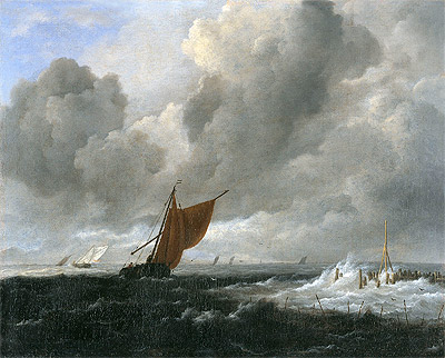 Stormy Sea with Sailing Vessels, c.1668 | Ruisdael | Giclée Canvas Print