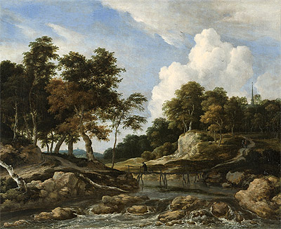 A Wooded River Landscape with a Bridge, undated | Ruisdael | Painting Reproduction