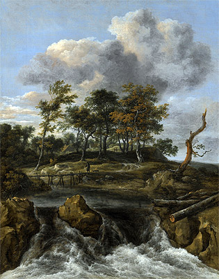 A River Landscape with a Waterfall, undated | Ruisdael | Painting Reproduction