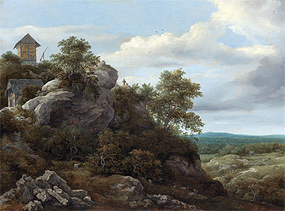 Landscape with Houses on a Rocky Hill, undated | Ruisdael | Giclée Canvas Print