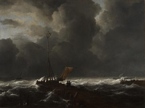 Rough Sea at a Jetty, 1650s | Ruisdael | Giclée Canvas Print