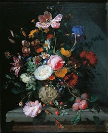 Jacob van Walscapelle | Bunch of Flowers in a Stone Vase, 1677 | Giclée Canvas Print