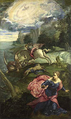 Saint George and the Dragon, c.1553 | Tintoretto | Painting Reproduction