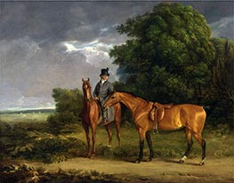 Jacques-Laurent Agasse | A Groom Mounted on a Chestnut Hunter, He Holds a Bay Hunter by the Reins, undated | Giclée Canvas Print