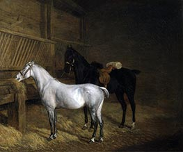 Jacques-Laurent Agasse | A Grey Pony and a Black Charger in a Stable, 1804 | Giclée Canvas Print