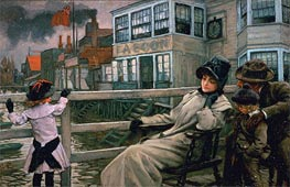 Joseph Tissot | Waiting for the Ferry | Giclée Canvas Print