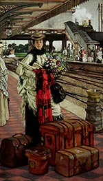 Joseph Tissot | Waiting at the Station | Giclée Canvas Print