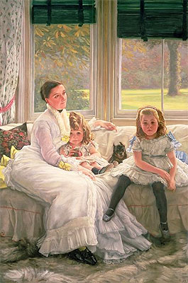 Portrait of Mrs Catherine Smith Gill and Two of Her Children, 1877 | Joseph Tissot | Painting Reproduction