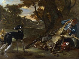 Jan Baptist Weenix | A Huntsman Cutting up a Dead Deer, with Two Deerhounds | Giclée Paper Print