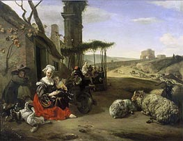 Jan Baptist Weenix | Italian Landscape with Inn and Ancient Ruins | Giclée Canvas Print